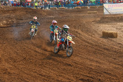 Phichit,Thailand,December 27,2015:Extreme Sport Motorcycle,The motocross competition,motocross rider cornering and free fee to see Royalty Free Stock Image