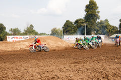 Phichit,Thailand,December 27,2015:Extreme Sport Motorcycle,The motocross competition,motocross rider cornering and free fee to see. Beauty shot of Extreme Sport Royalty Free Stock Images