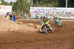 Phichit,Thailand,December 27,2015:Extreme Sport Motorcycle,The motocross competition,motocross rider cornering and free fee to see. Beauty shot of Extreme Sport Stock Photography
