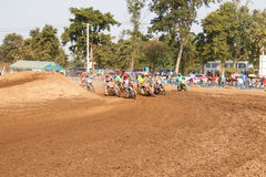Phichit,Thailand,December 27,2015:Extreme Sport Motorcycle,The motocross competition,motocross rider cornering and free fee to see Stock Photography