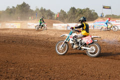 Phichit,Thailand,December 27,2015:Extreme Sport Motorcycle,The motocross competition,motocross rider cornering and free fee to see Royalty Free Stock Images
