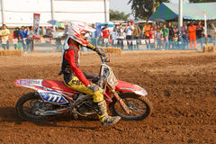 Phichit,Thailand,December 27,2015:Extreme Sport Motorcycle,The motocross competition,motocross rider cornering and free fee to see. Beauty shot of Extreme Sport Royalty Free Stock Photos