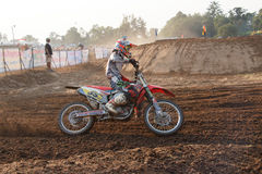 Phichit,Thailand,December 27,2015:Extreme Sport Motorcycle,The motocross competition,motocross rider cornering and free fee to see Stock Image