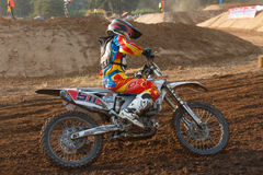 Phichit,Thailand,December 27,2015:Extreme Sport Motorcycle,The motocross competition,motocross rider cornering and free fee to see Royalty Free Stock Photos
