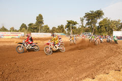 Phichit,Thailand,December 27,2015:Extreme Sport Motorcycle,The motocross competition,motocross rider and driver start Royalty Free Stock Photo