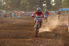 Phichit,Thailand,December 27,2015:Extreme Sport Motorcycle,The motocross competition,motocross rider and free fee to see Royalty Free Stock Photography
