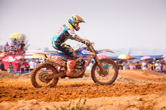 Phichit,Thailand,December 27,2015:Extreme Sport Motorcycle,The motocross competition,motocross rider and free fee to see Royalty Free Stock Photos