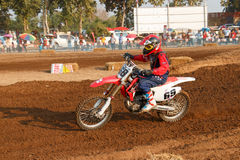 Phichit,Thailand,December 27,2015:Extreme Sport Motorcycle,The motocross competition,motocross rider and good driver Royalty Free Stock Photography