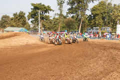 Phichit,Thailand,December 27,2015:Extreme Sport Motorcycle,The motocross competition,motocross rider and good driver Stock Photography
