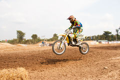 Phichit,Thailand,December 27,2015:Extreme Sport Motorcycle,The motocross competition,motocross rider jump. Stock Image