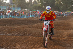 Phichit,Thailand,December 27,2015:Extreme Sport Motorcycle,The motocross competition,motocross rider jump. Royalty Free Stock Photos