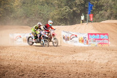 Phichit,Thailand,December 27,2015:Extreme Sport Motorcycle,The motocross competition,motocross rider jump. Royalty Free Stock Image