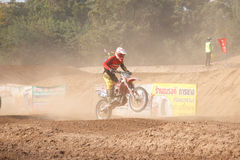 Phichit,Thailand,December 27,2015:Extreme Sport Motorcycle,The motocross competition,motocross rider jump. Stock Photo