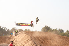 Phichit,Thailand,December 27,2015:Extreme Sport Motorcycle,The motocross competition,motocross rider jump. Stock Images
