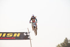 Phichit,Thailand,December 27,2015:Extreme Sport Motorcycle,The motocross competition,motocross rider jump. Royalty Free Stock Images