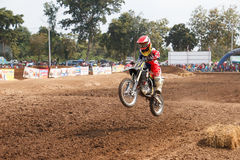 Phichit,Thailand,December 27,2015:Extreme Sport Motorcycle,The motocross competition,motocross rider jump. Stock Photos