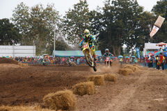 Phichit,Thailand,December 27,2015:Extreme Sport Motorcycle,The motocross competition,motocross rider jump and good drivers Royalty Free Stock Photos