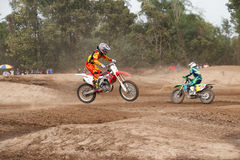 Phichit,Thailand,December 27,2015:Extreme Sport Motorcycle,The motocross competition,motocross rider jump and good drivers Stock Photography