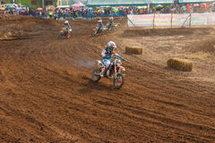 Phichit,Thailand,December 27,2015:Extreme Sport Motorcycle,The motocross competition,motocross rider and kid driver Royalty Free Stock Photos