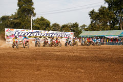 Phichit,Thailand,December 27,2015:Extreme Sport Motorcycle,The motocross competition,motocross rider start. Stock Image
