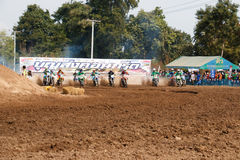 Phichit,Thailand,December 27,2015:Extreme Sport Motorcycle,The motocross competition,motocross rider start. Royalty Free Stock Image