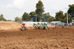 Phichit,Thailand,December 27,2015:Extreme Sport Motorcycle,The motocross competition,motocross rider start. Royalty Free Stock Photo