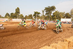 Phichit,Thailand,December 27,2015:Extreme Sport Motorcycle,The motocross competition,motocross rider and start driver Stock Image