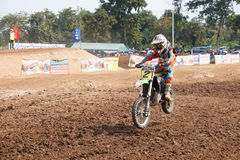 Phichit,Thailand,December 27,2015:Extreme Sport Motorcycle,The motocross competition,motocross rider and young drivers Stock Photography