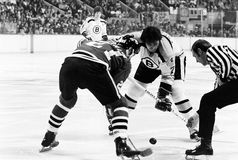 Phil Esposito, Bobby Orr and Stan Mikita. Stock Images