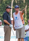 Phil Michelson and his caddy at the 2012 Barclays. Royalty Free Stock Image