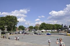 Philadelphfia, PA, o 3 de julho: Art Museum Plaza nacional de Philadelphfia em Pensilvânia EUA Imagens de Stock