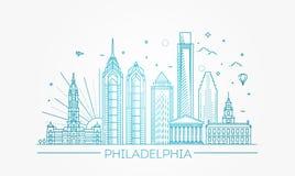 philadelphia Пенсильвания США Горизонт с панорамой Стоковые Изображения
