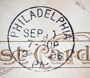 Philadelphia 1906 American Postmark. A postcard cancellation from Philadelphia, Pennsylvania. This image could illustrate travel, tourism, philately or Stock Photography