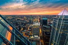 Philadelphia aerial perspective at sunset. stock images