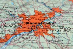 Philadelphia. America on a geographical map with Russian text. Selective focus stock images