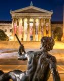 Philadelphia Art Museum and Statue stock images