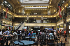 Philadelphia,August 4th:Historic Building Bourse Mall interior from Philadelphia in Pennsylvania. Foodcourt from Bourse Mall interior from Philadelphia in Stock Images