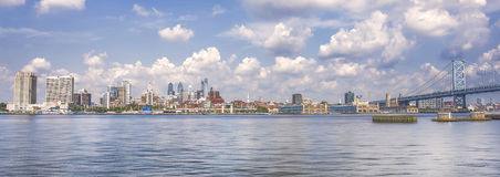 Philadelphia and the Ben Franklin Bridge. Downtown Philadelphia is seen with the Ben Franklin bridge, from the New Jersey side Stock Photography