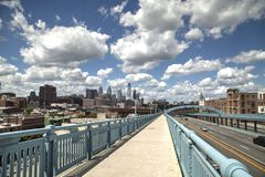 Philadelphia from the Ben Franklin bridge Royalty Free Stock Photos