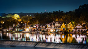 Philadelphia Boathouse Row By Night Stock Images