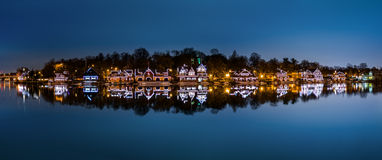 Philadelphia - Boathouse Row panorama by night Stock Photos