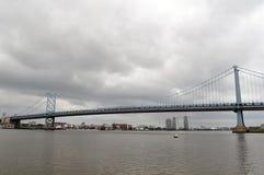 Philadelphia Bridge. Picture taken from the Camden Aquarium overlooking the Deleware River onto the Philadelphia Skyline Stock Image