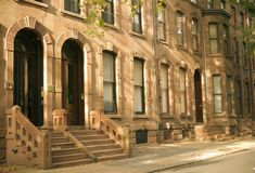 Philadelphia Brownstones. Brownstone row houses on a residential street Stock Image