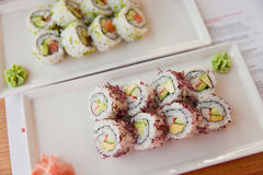 Philadelphia and california rolls Royalty Free Stock Photography