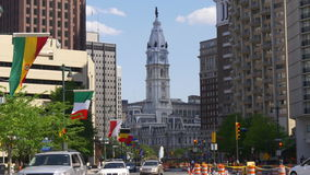 Philadelphia cathedral city hall traffic street view 4k pennsylvania usa stock footage