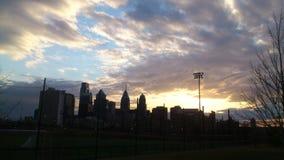 Philadelphia center city. Sunset from franklin field UPenn Stock Photos