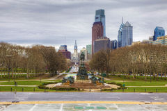 Philadelphia city center from the Museum of Art Royalty Free Stock Photos