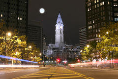 The Philadelphia City Hall building at night Stock Photos