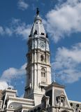 Philadelphia City Hall Clock Tower. With cumulous clouds Stock Image