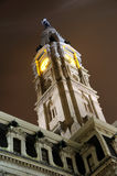 Philadelphia City Hall Clock Tower at Night Stock Images